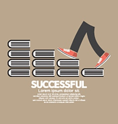 Step Up Walking On Books Successful Concept vector image