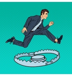 Successful businessman jumping over the trap vector