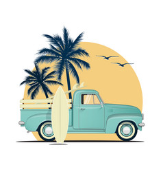surfing retro pick up truck with surf boards vector image