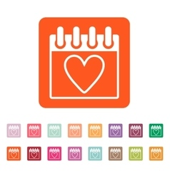 The calendar icon Valentines day symbol vector image
