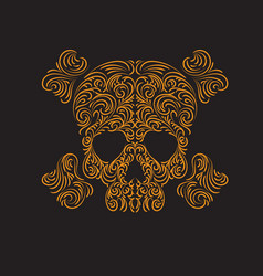 tracery wave pattern skull graphic vector image