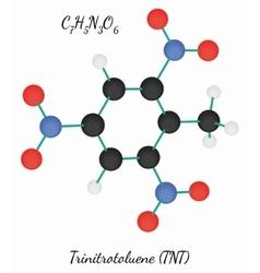 Trinitrotoluene TNT C7H5N3O6 molecule vector