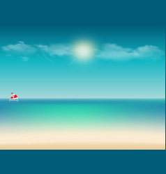 tropical with ocean view sail boat sky and copy vector image