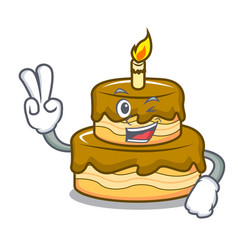 two finger birthday cake character cartoon vector image