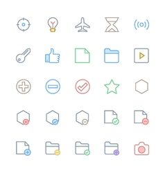 User interface colored line icons 4 vector