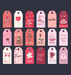 Valentine s day printable tags collection festive vector
