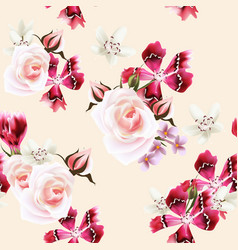 Wallpaper pattern with roses and pink flowers vector