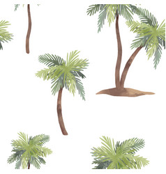 Watercolor palm tree pattern vector