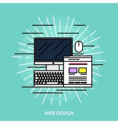 Web Design Line Icon vector image