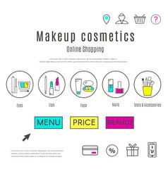 Web design template of makeup and cosmetics online vector