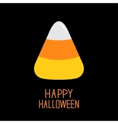 Candy corn Happy Halloween card Flat design vector image vector image