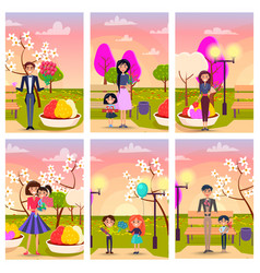 cartoon characters in park with gifts vector image