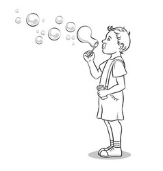 child blowing bubbles coloring book vector image vector image