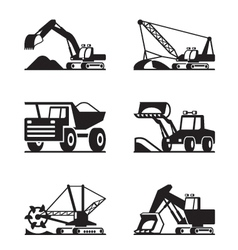 Heavy construction and minning equipment vector image vector image