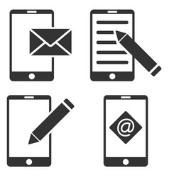 Mobile mail editing flat icon set vector