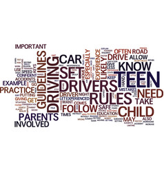 teen drivers text background word cloud concept vector image