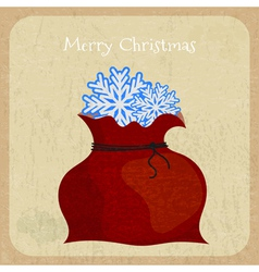 Bag of Santa Claus on Christmas card background vector image