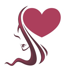 beautiful girl and big heart vector image