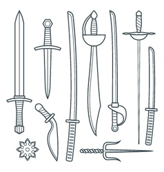 cold weapons outline set vector image vector image