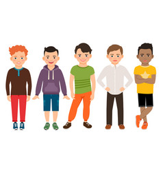 cute little boys characters vector image