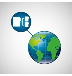 globe world connection data transfer service vector image