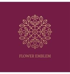 Golden floral emblem vector image vector image