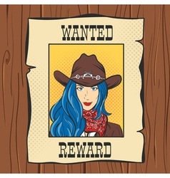 Wanted Vintage Western Poster with young pretty vector image vector image