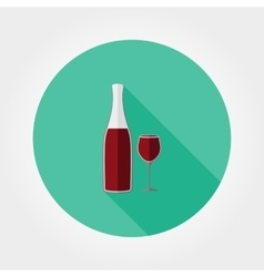 Wine bottle and wine glass Icon vector image