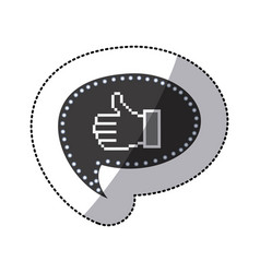black silhouette sticker of pixel thumb up inside vector image vector image
