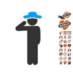 gentleman salute icon with lovely bonus vector image