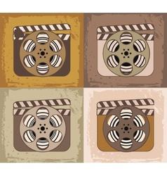 Grunge retro cinema icons vector image vector image