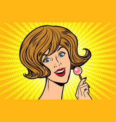 joyful woman and lollipop vector image