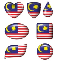 Malaysian Flag in various shape glossy button vector image