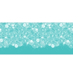 Blue seashells line art horizontal seamless vector image vector image