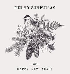 Christmas bouquet and bird vector