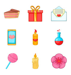 commemorative event icons set cartoon style vector image vector image
