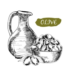 Jug and olives vector image