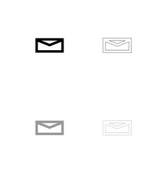 mail black and grey set icon vector image vector image