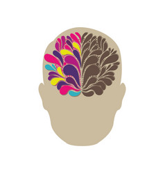 silhouette of human face with colored abstract vector image