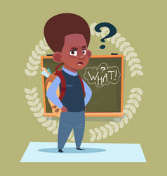 small african american school boy standing over vector image