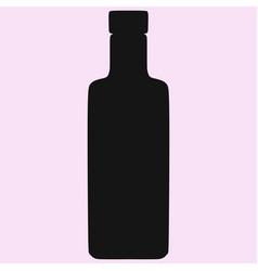 vodka glass bottle silhouette vector image