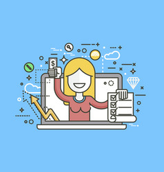 woman laptop notebook offers vector image vector image