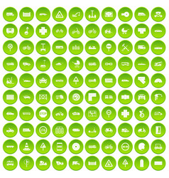 100 road icons set green vector
