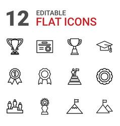 12 achievement icons vector