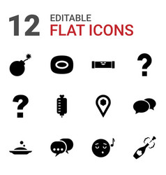 12 bubble icons vector image