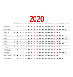 2020 calendar print template week starts sunday vector image
