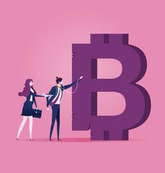A businessman examining bitcoin sign vector