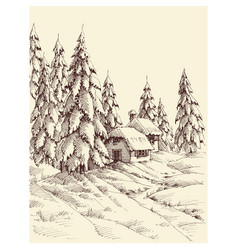 a cabin in pine forest in winter season hand vector image