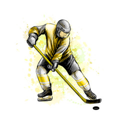 abstract hockey player from splash of watercolors vector image
