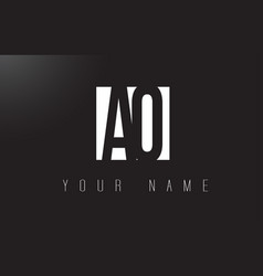 Ao letter logo with black and white negative vector